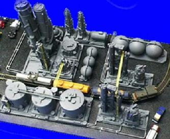 The 21 pieces are complete and only require arrangement to the modeler's design. There are marine tankers, petro-barges, and other ancillary models to support this assembly.